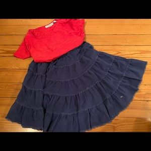 Mini boden 7-8 y corduroy tiered skirt blue